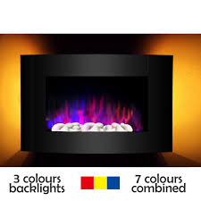 wall mounted 7colours led electric fireplace 900 1800w with pebble