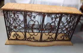 rustic mediterranean style wrought iron wine rack buffet with faux