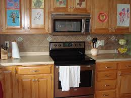 small brown plaid pattern ceramic tiled backsplash for kitchen