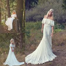 a line off the shoulder wedding dress boho hippie wedding