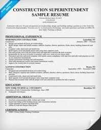 Construction Superintendent Resume Sample by Sample Resume For Construction Worker Inventory Accountant Cover
