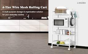 Amazon Com Langria Living Storage by Amazon Com Langria 4 Tier Kitchen Cart Utility Cart For Serving