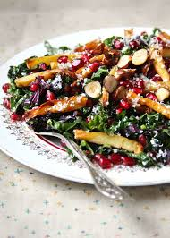kale pomegranate and caramelized parsnip salad recipe pbs food