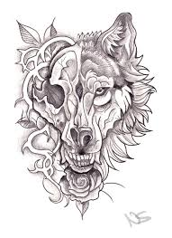neo traditional wolf skull design by bluepisces97 on deviantart