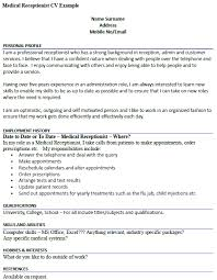 Hobbies And Interests On Resume Examples by Medical Receptionist Cv Example Icover Org Uk