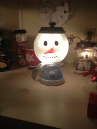 snowman light i made using a glass globe u0026 terra cotta pots