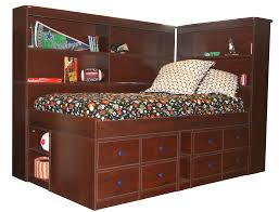 furniture brown leather bed with storage under the bed combined