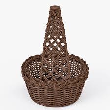 wicker basket 09 brown color 3d cgtrader