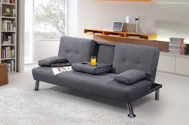 Fabric Sofa Bed New York 3 Seater Grey Fabric Sofa Bed With Drinks Table Sleep