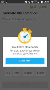 timed practice on mobile duolingo
