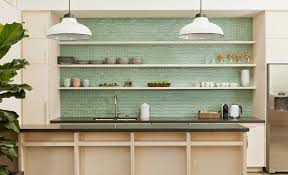 green subway tile kitchen backsplash supreme glass tiles light oak