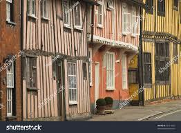 Tudor Houses by Closeup Facades Timberframed Tudor Houses Lavenham Stock Photo