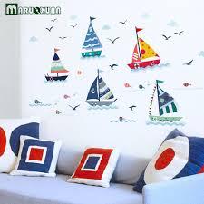 chambre bébé stickers maruoxuan bleu océan mouette voile bateau autocollant stickers