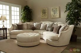 transitional curved ivory sectional sofa w loose pillow