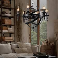 Vintage Candle Chandelier Colorled Retro Industrial Vintage 12 Light Wrought Iron Candle