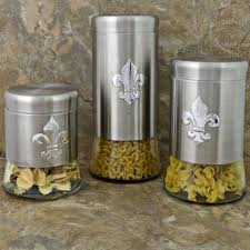 kitchen canister sets stainless steel fleur de lis canister set stainless steel decor le fleur