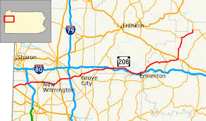 Map Of Pennsylvania Cities by Pennsylvania Route 208 Wikipedia
