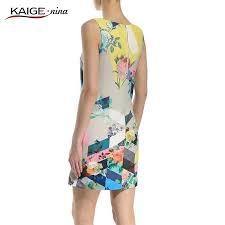 abstract pattern sleeveless dress kaigenina new fashion hot sale women collar dresses sleeveless