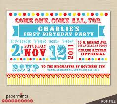 circus themed birthday party invitations cimvitation