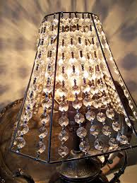 Chandeliers With Lamp Shades Crystal Lamp Shade Take Fabric Off Old Lampshade And String