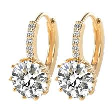 real gold earrings woman real 18k white gold filled aaa cubic zircon hoop earrings