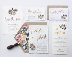 Wedding Invitation Rsvp Cards Garden Floral Brass Gold Wedding Invitation Suite Deckled Edge