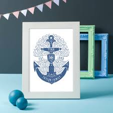 Nautical Family Room Personalised Nautical Family Print By Oakdene Designs