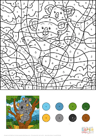 koala color by number free printable coloring pages