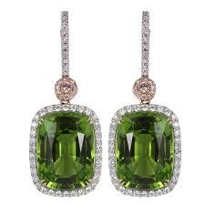 pink drop earrings 19 73 carat peridot and pink diamond drop earrings for sale at 1stdibs