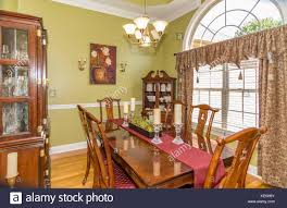 dining room interior of middle class american home in kentucky usa