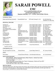 music resume cv cover letter musical theatre templa saneme