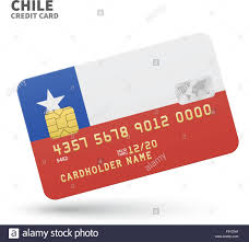 Chile Santiago Flag Credit Card With Chile Flag Background For Bank Presentations And