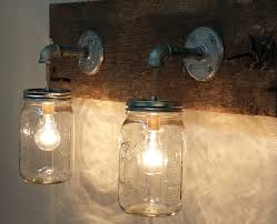 Hanging Industrial Lights by Mason Jar 2 Light Fixture Rustic Reclaimed Barn Wood Mason Jar