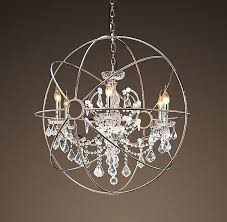 French Wooden Chandelier Double Ball Sphere Raindrop Clear Crystal Ceiling Light Chandelier