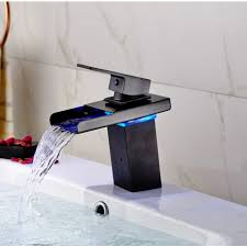oil rubbed bronze bathroom sink faucet led waterfall deck mount bathroom sink faucet oil rubbed bronze