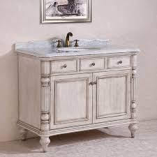 carrara white marble top single sink bathroom vanity in antique