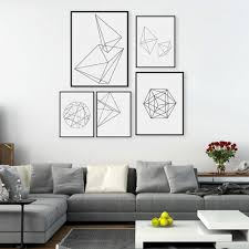White Wall by Modern Nordic Minimalist Black White Geometric Shape A4 Large Art