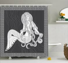 mermaid shower curtain retro celtic borders bathroom decor ebay