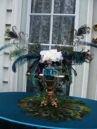 Feather And Flower Centerpieces by Dual Use Peacock And Ostrich Feather Centerpieces And Chair Or Pew