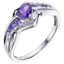 amethyst heart rings images Argentium silver diamond amethyst heart ring h samuel