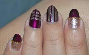 nail art striping tape design purple and gold nail art love