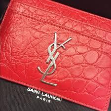 ysl business card holder yves laurent ysl crocodile embossed card holder