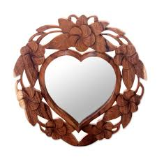 Heart Shaped Items Heart Shaped Wood Wall Mirror With Floral Motif Frangipani Heart