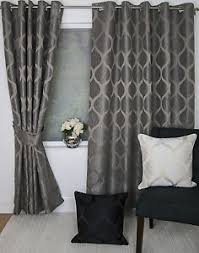 Black And Grey Curtains Griffin Ring Top Eyelet Heading Lined Curtains Black Grey