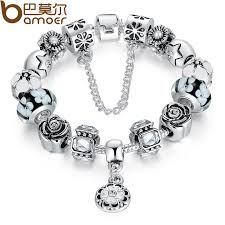silver bead bracelet diy images Bamoer silver original glass bead bracelet for women with safety jpg