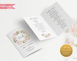 bi fold wedding program template printable burgundy floral wedding program booklet editable