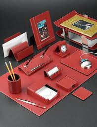White Leather Desk Blotter Red Stitched Leather Desk Accessories Set With Chrome Plated Brass