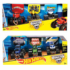 grave digger the legend monster truck wheels monster jam 1 64 vehicle 3 pack assorted toys r us