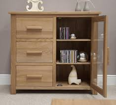 Solid Oak Furniture Eton Solid Oak Furniture Small Glazed Sideboard Hi Fi Cabinet