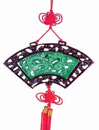 oriental fan wall hanging chinese knotting wall plaque fan shape dragon